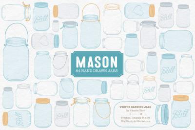 Vector Mason Jars Clipart in Soft Blue
