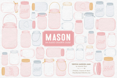 Vector Mason Jars Clipart in Soft Pink
