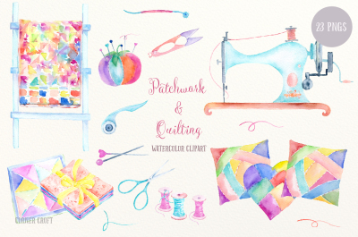 Watercolor Clip Art Patchwork and Quilting