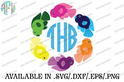 Tropical Fish Monogram - SVG, DXF, EPS Cut File