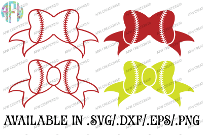 Baseball - Softball Bows - SVG, DXF, EPS Cut Files