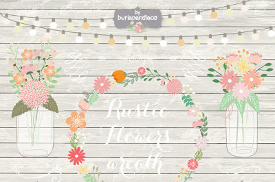 Rustic wedding clipart, shabby chic clipart, Hand Drawn clipart,wedding clipart, flower clipart, wood digital paper