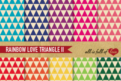 Vintage Triangles Paper Pack Rainbow backgrounds