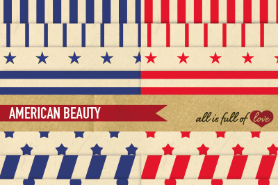 American Beauty Digital Paper Pack Vintage Stars and Stripes