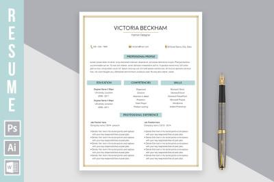 Resume Template 'Victoria Beckham'