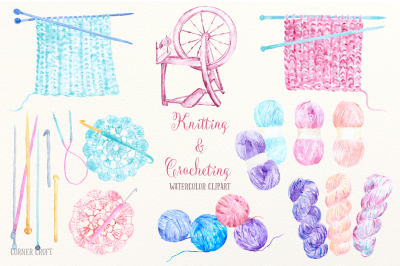 Watercolor Clip Art Knitting and Crocheting