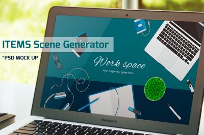 Work space items scene generator