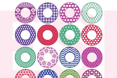 16 Patterned Circle Monogram Frames Bundle - SVG, DXF, EPS, PNG - Cutting Files