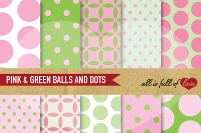 Pink Green Backgrounds Balls and Dots Digital Paper Pack Spring