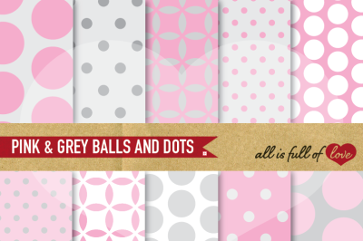 Grey Pale Pink Backgrounds Balls and Dots Easter Digital Paper