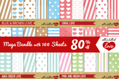 100 Sheets Mega Bundle Love Collection