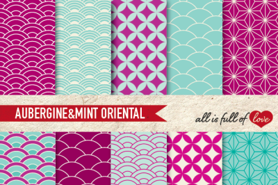 Aubergine Mint Green Digital Paper Oriental Graphics