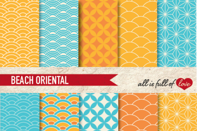 Yellow and Sky Blue Digital Paper Oriental Graphics Beach
