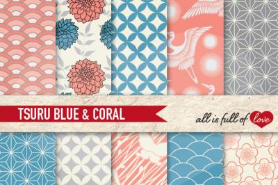Japan Digital Paper Coral Blue Background Patterns Tsuru