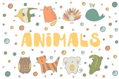 Doodle animals set