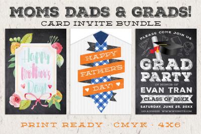 Moms Dad & Grads Card Invite Bundle