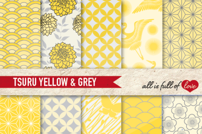 Japan Digital Paper Yellow Grey Background Patterns Tsuru