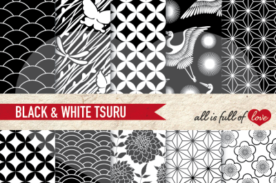 Japan Digital Paper Black White Background Patterns Tsuru