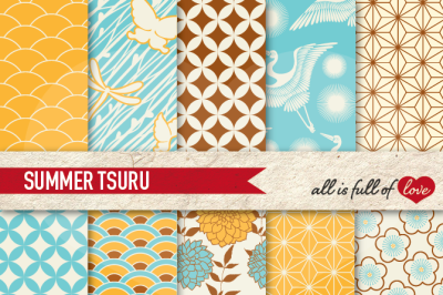 Japan Digital Paper Summer Background Patterns Tsuru