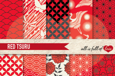 Japan Digital Paper Red Black Background Patterns Tsuru