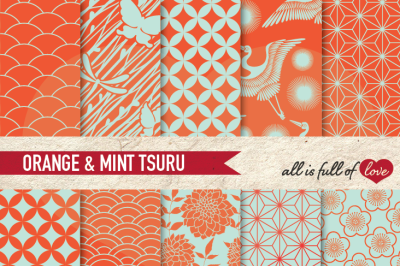Japan Digital Paper Orange Mint Green Background Patterns Tsuru