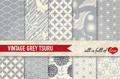 Japan Digital Paper Grey Background Patterns Tsuru