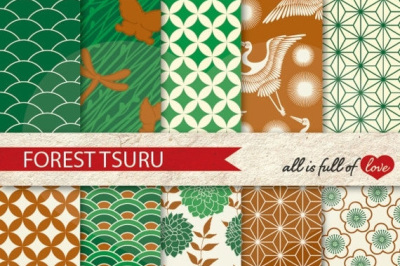 Japan Digital Paper Forest Green Brown Background Patterns Tsuru