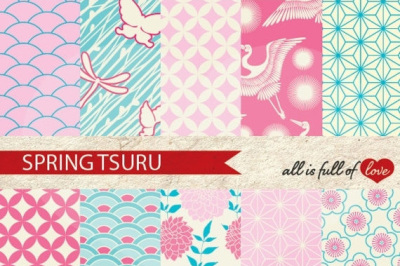 Japan Digital Paper Spring Background Patterns Tsuru
