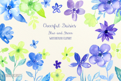 Watercolor Clipart Cheerful Daisy Blue and Green