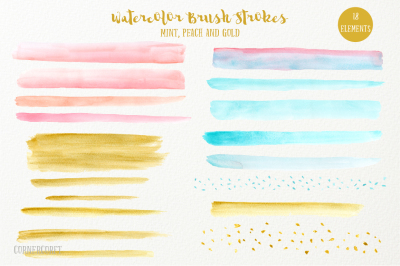 Watercolor Brush Stroke Mint Peach and Gold