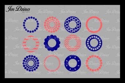 Pattern Circle Monogram Frame Bundle SVG DXF EPS PNG