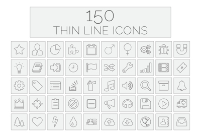 150 Thin Line Icons