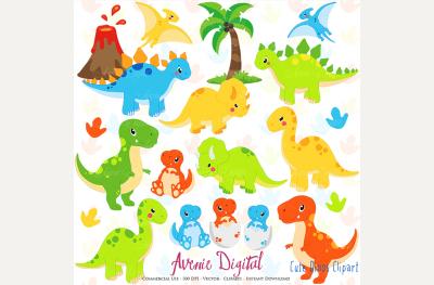 Cute Dinosaur Clipart + Vectors