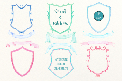 Watercolor crest frames and ribbons