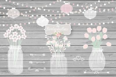 Mason Jar Wedding Invitation clipart&2C; Lampion&2C; bouchet&2C; Rustic Mason Jar Country Wedding Invitations with Flowers&2C; wood grain background