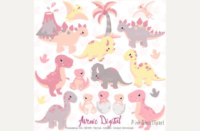 Cute Pink Dinosaur Clipart + Vectors