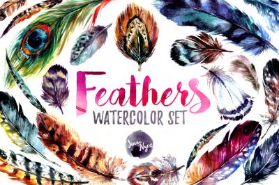 20% Off Watercolor Boho Feather DIY Set