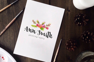 Instant Download Logo - Watercolor Logo - Photography Logo