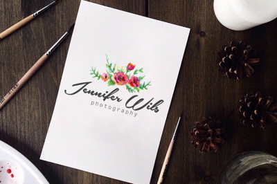 Photography logo design photography watermark Watercolor Flower logo. Instant download psd logo template