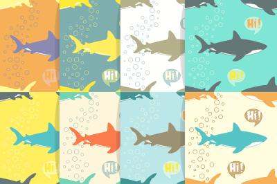 Shark seamless patterns