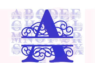 ES Swirl Split - Alphabet A-Z - SVG, DXF, EPS - Cutting files