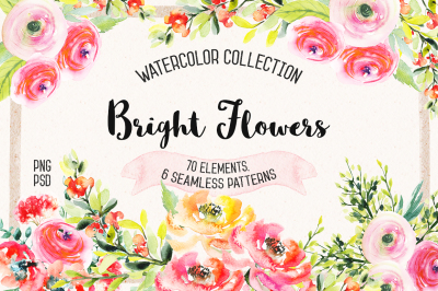 Watercolor Bright Flowers