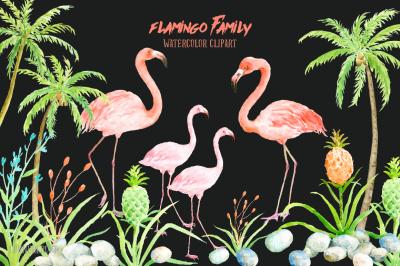 Watercolor Clipart Flamingo Family