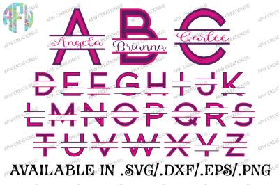 Two Color Split Letters - SVG, DXF, EPS