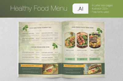 Healthy Food Menu Illustrator Template