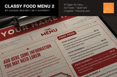 Classy Food Menu 2 Illustrator Template