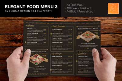 Elegant Food Menu 3 Illustrator Template