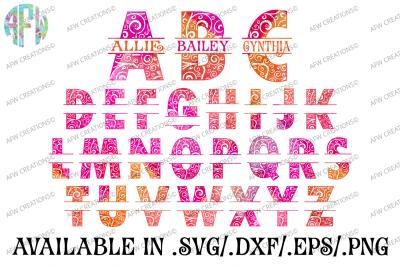 Split Swirl Letters - SVG, DXF, EPS Cut Files