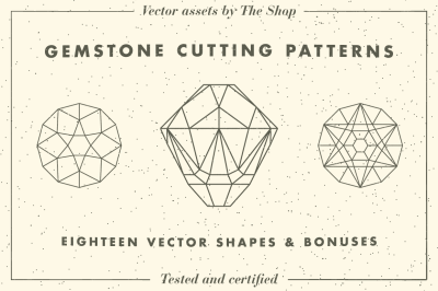 Gemstone cutting pattern vectors