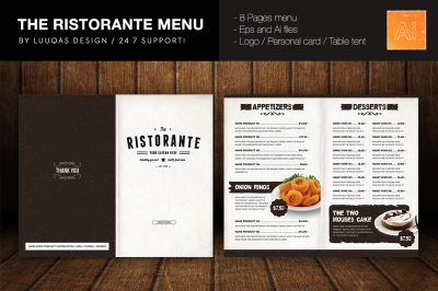 The Ristorante Menu Illustrator Template